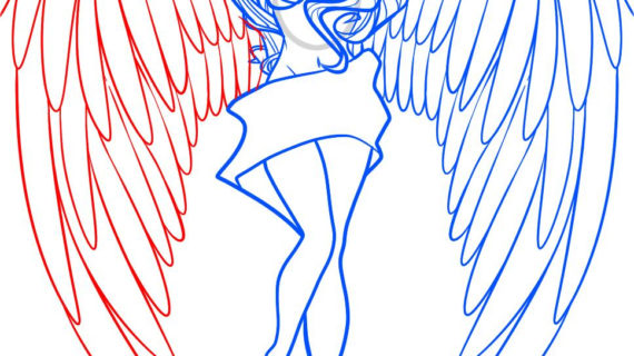 570x320 Simple Angel Wings Drawing Angel Wings Drawing