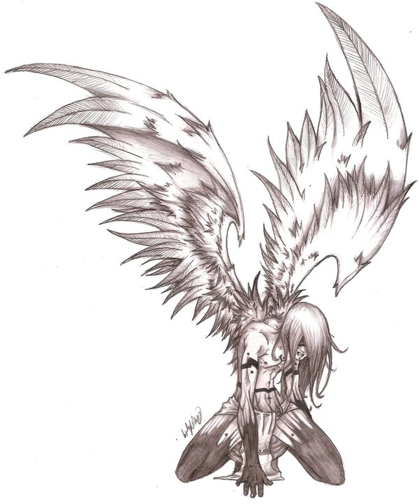 600x721 an angels pain sketch by mavericktears on deviantart