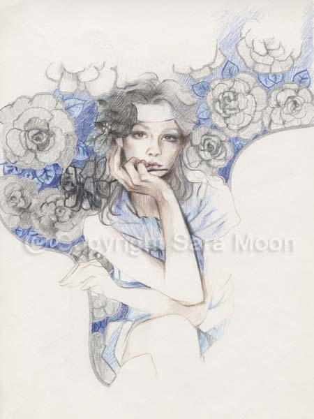 450x600 Original Sara Moon Pencil Drawing Sketch For Angel 1 2 For Sale