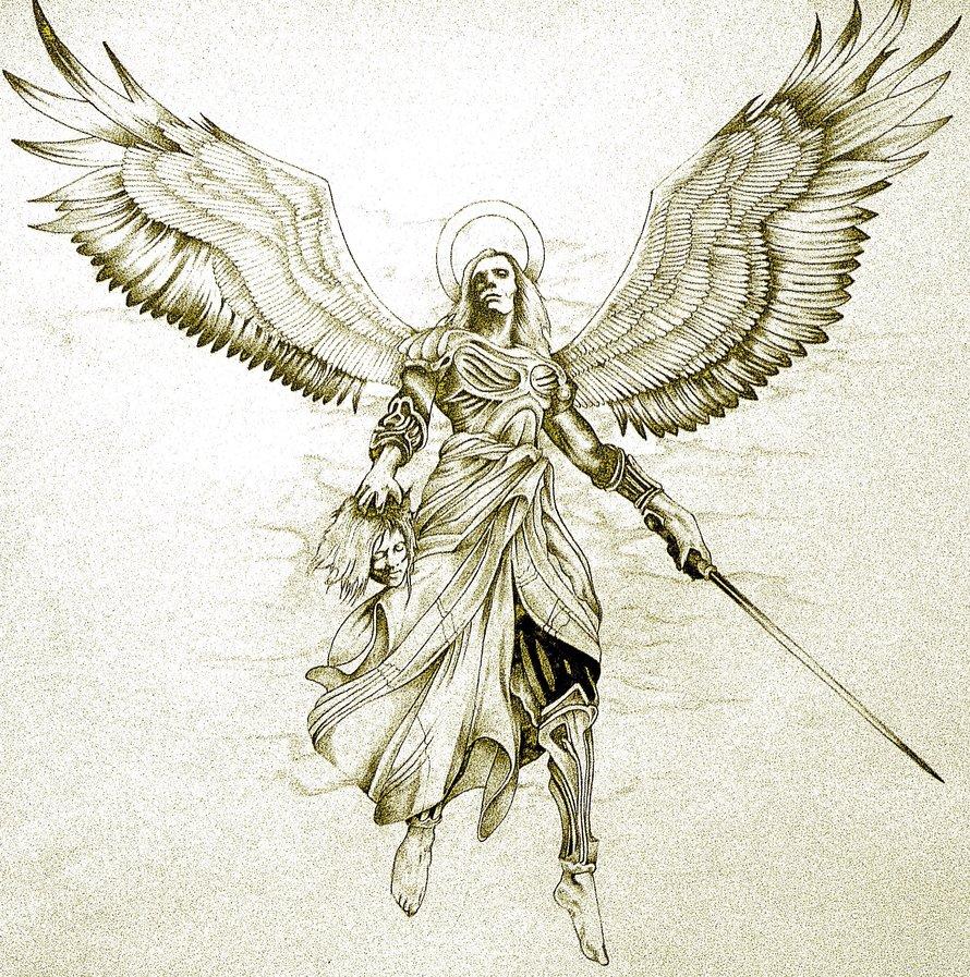 890x897 Avenging Angel Tattoo Design By Minkewhale