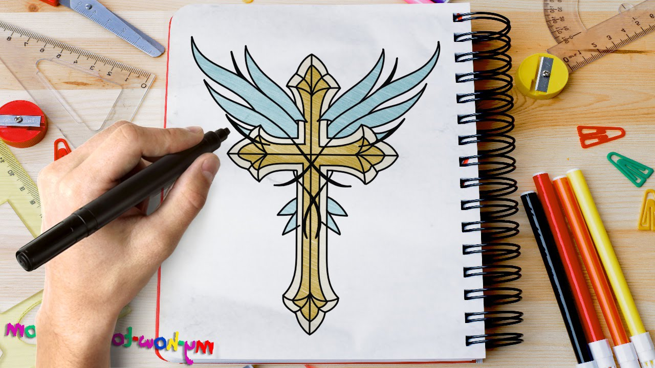 1280x720 Drawing Angels Kalars Hd 3d How To Draw A Cross With Angel Wings