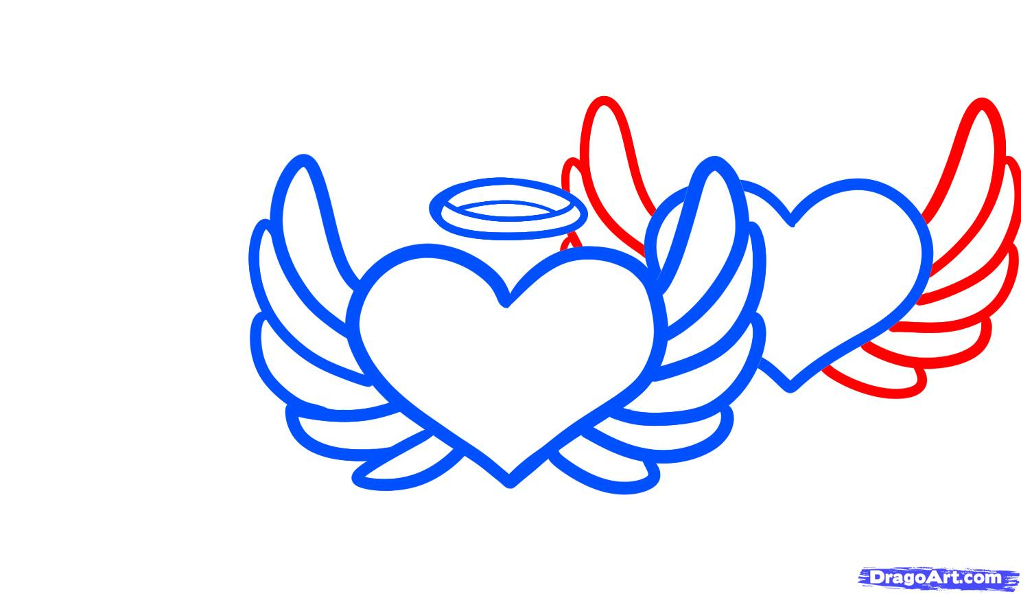 1488x865 Easy To Draw Angel Wings Drawn Broken Heart Pon