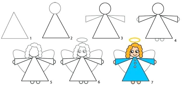 624x311 How To Draw A Angel How To Draw An Angel For Children Doodles