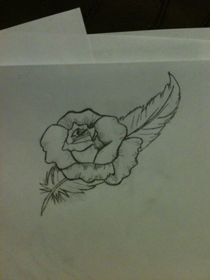 417x556 Angel Feather And Rose Tattoo Design By Angelfeather4