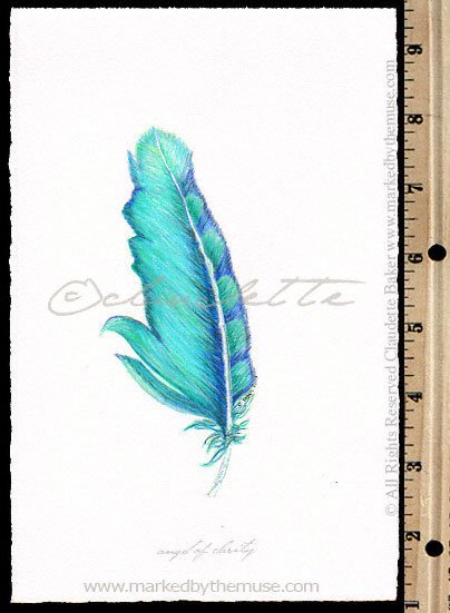 404x551 Angel Of Clarity Feather Drawing Inspirational Artwork Marked By