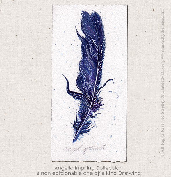 588x608 Angel Of Trust Feather Drawing Inspirational Artwork Marked By