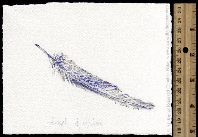 630x438 Angel Of Wisdom Feather Drawing Inspirational Artwork Marked By