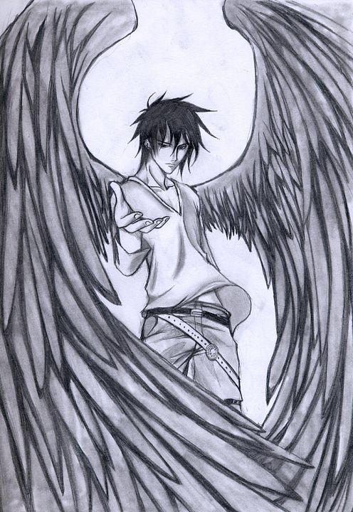 496x720 Dark Angel Drawing By Gabriel Baez