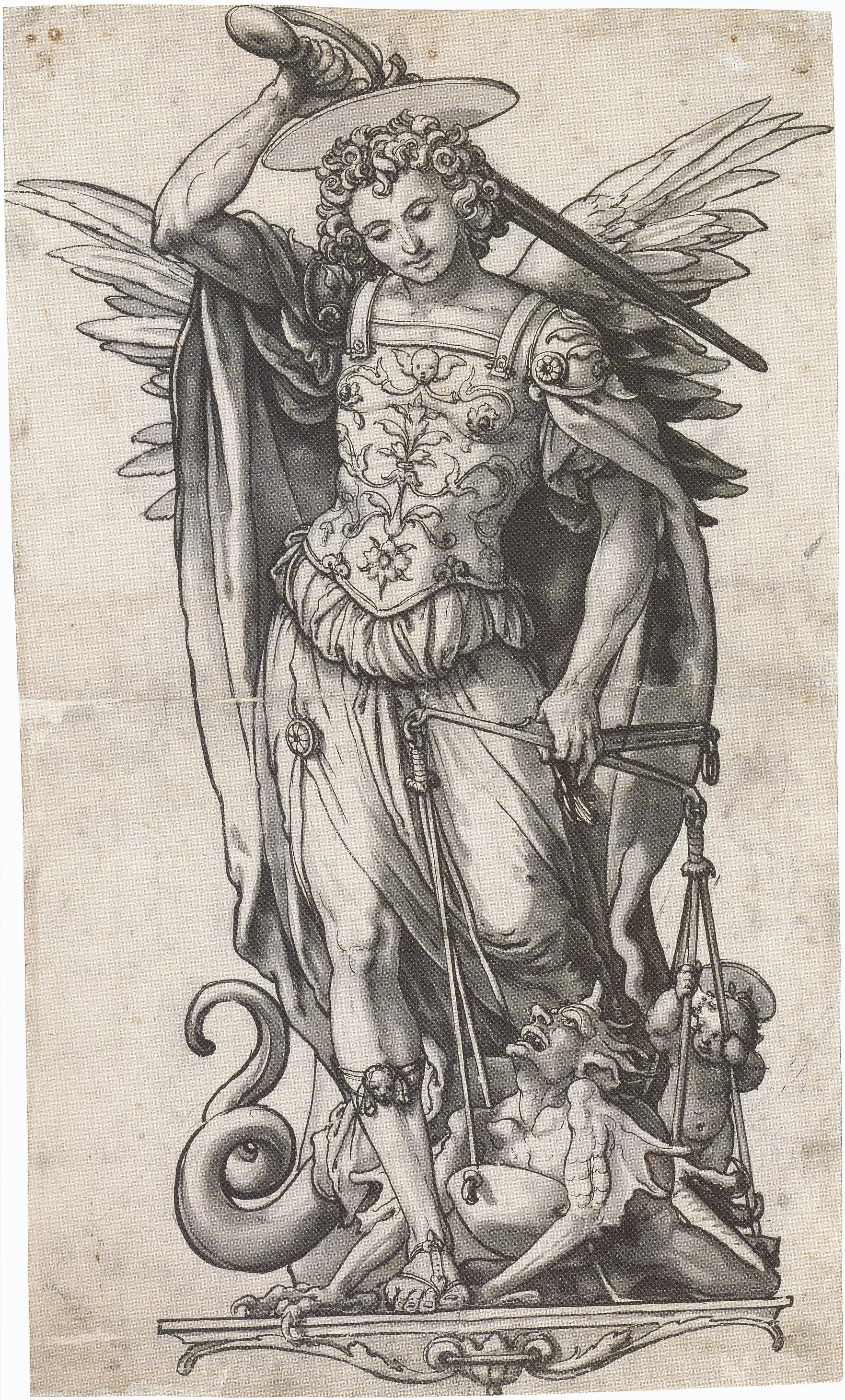 1763x2920 Filethe Archangel Michael Weighing Souls, By Hans Holbein