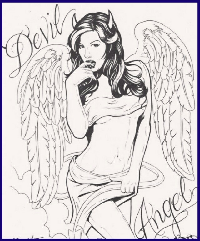 640x770 Devil Angel Girl Drawing Artwork Devil, Angel