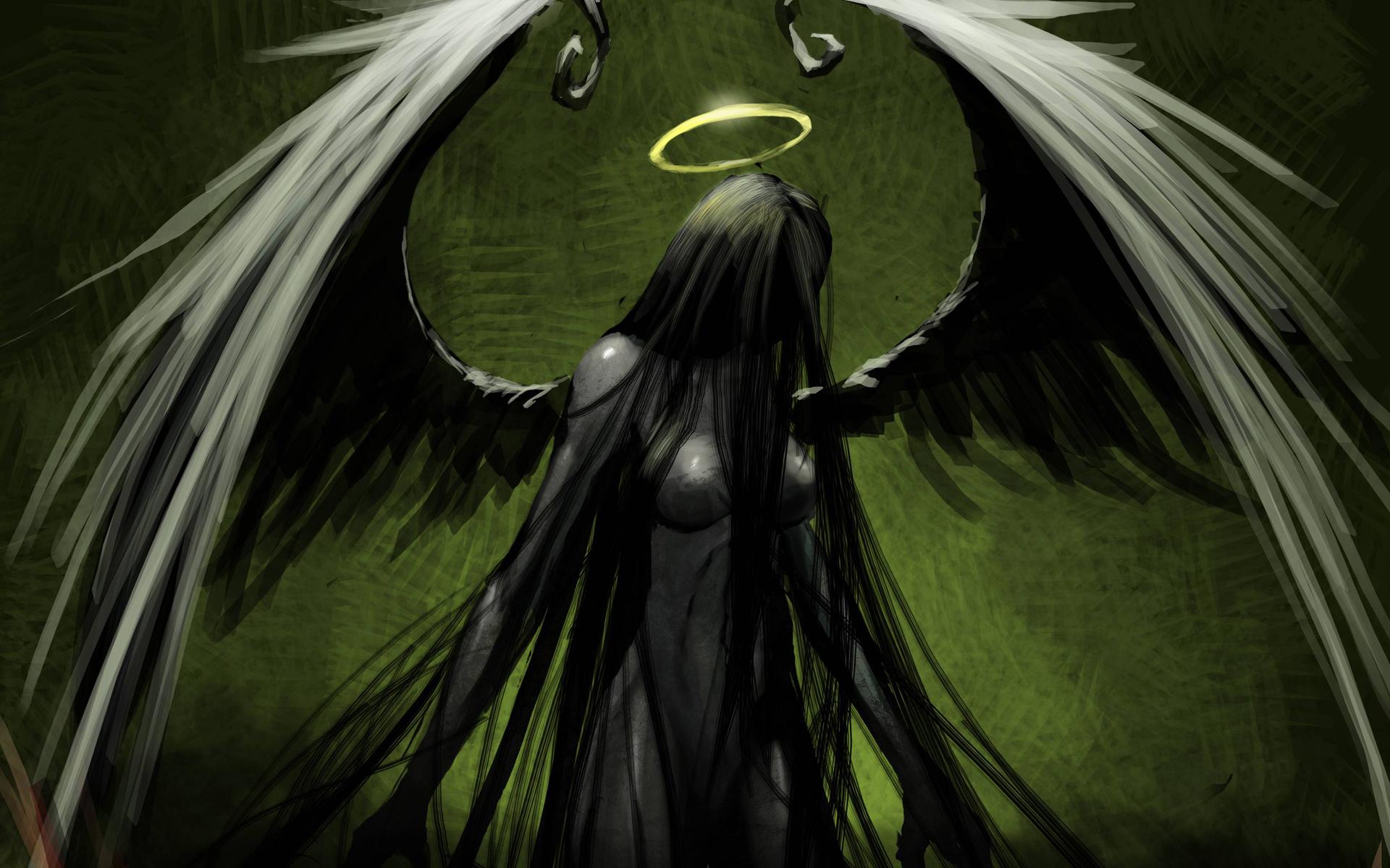 1920x1200 Angel Green Drawing Halo Wings Gothic Dark Wallpaper 1920x1200