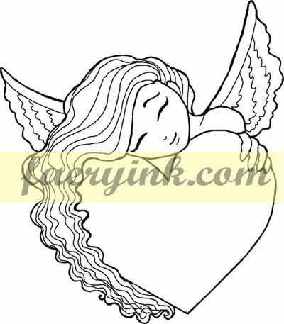 400x457 Angel Heart Hugs Digital Stamp Line Art Drawing By Faeryink, $1.00