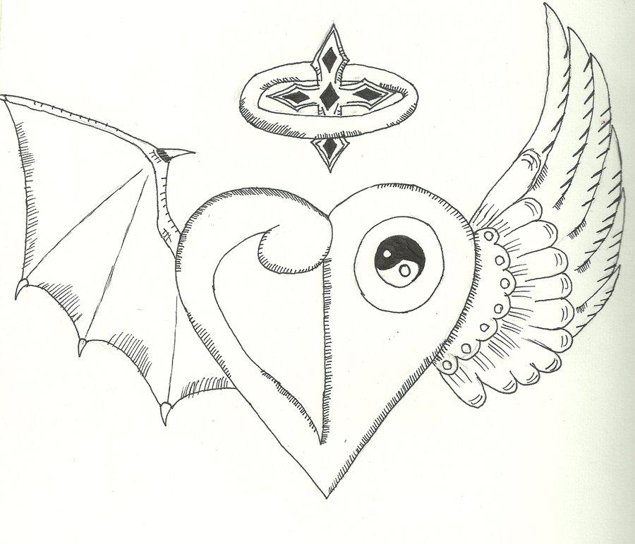 900x771 Angeldemon Heart Crest Tattoo By Saintnick14