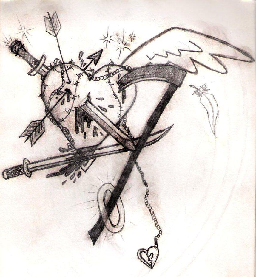 858x930 Stabbed Angel Heart Lt3 Drawings Angel Heart
