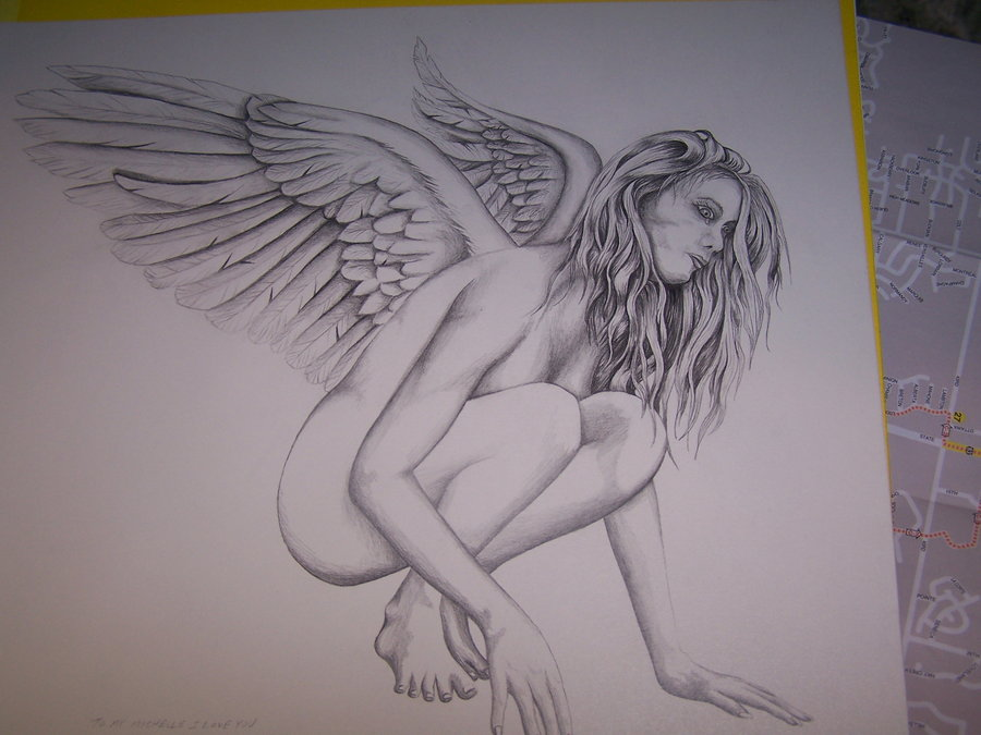 900x675 Angel Pencil Drawing By Neversayyy