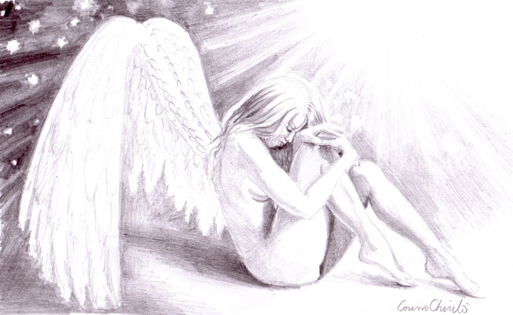 1024x629 Pencil Drawing Of Angels Sad Lonely Broken Angel Korinna39s
