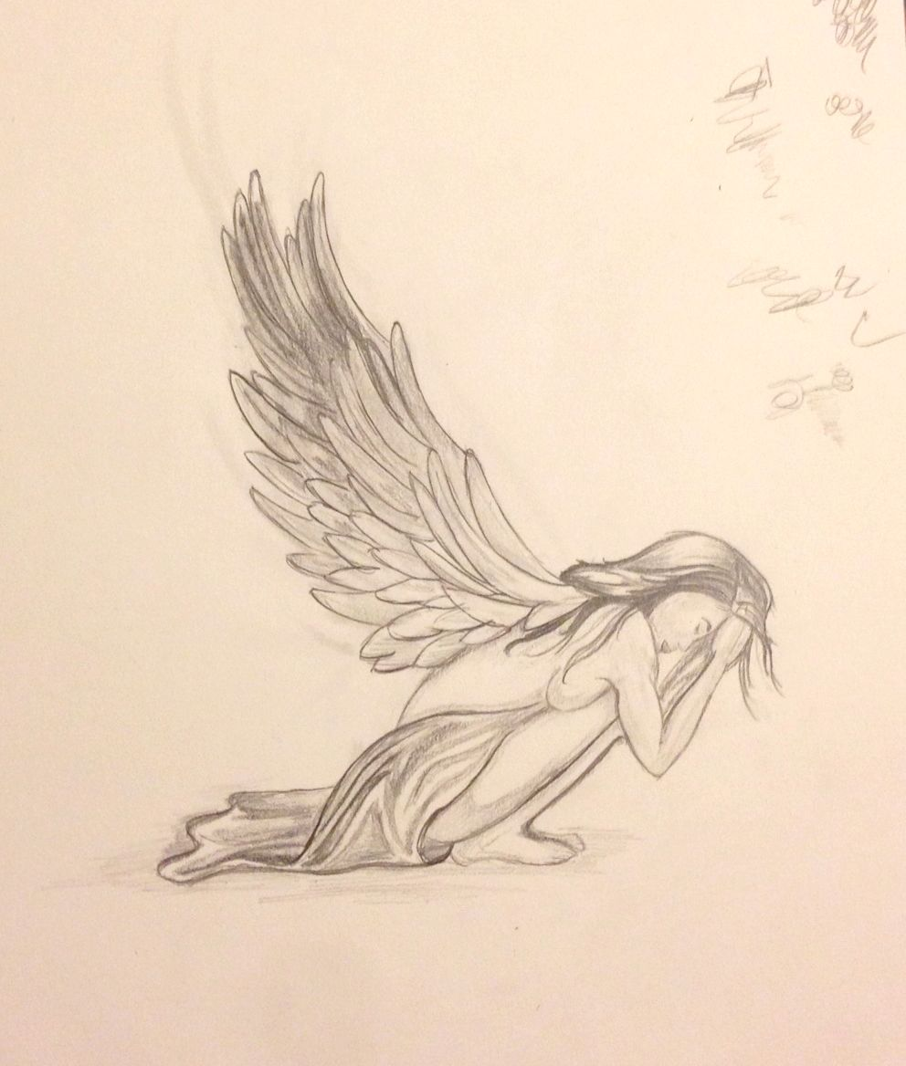 992x1168 Pencil And Paint Male Fallen Angel