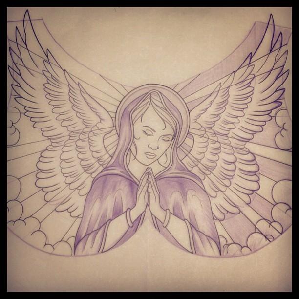 612x612 Cute Praying Angel Tattoos