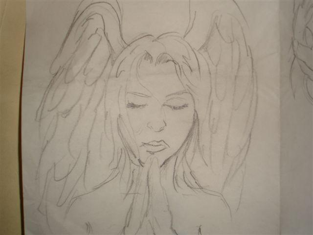 640x480 Praying Angel Tattoo Drawing By Chicanochop