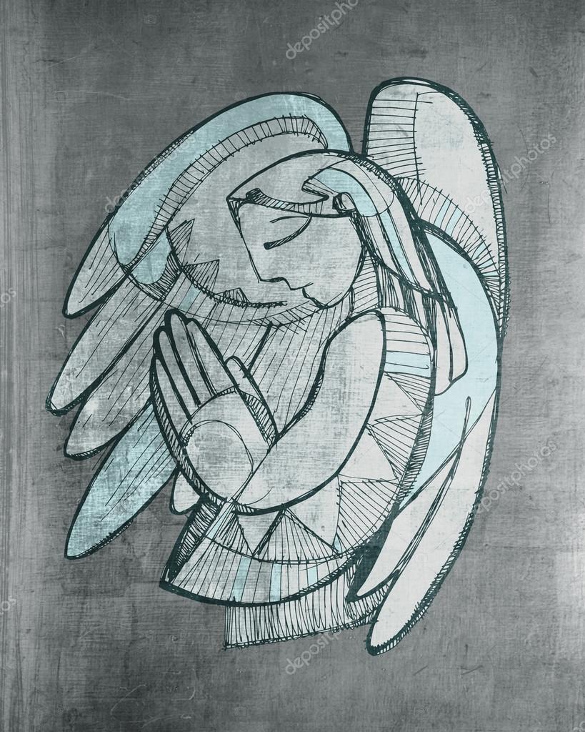 819x1024 Praying Guardian Angel Stock Photo Bernardojbp