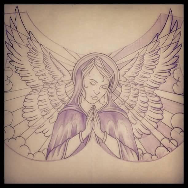 612x612 60 Impressive Tattoo Of Praying Angel