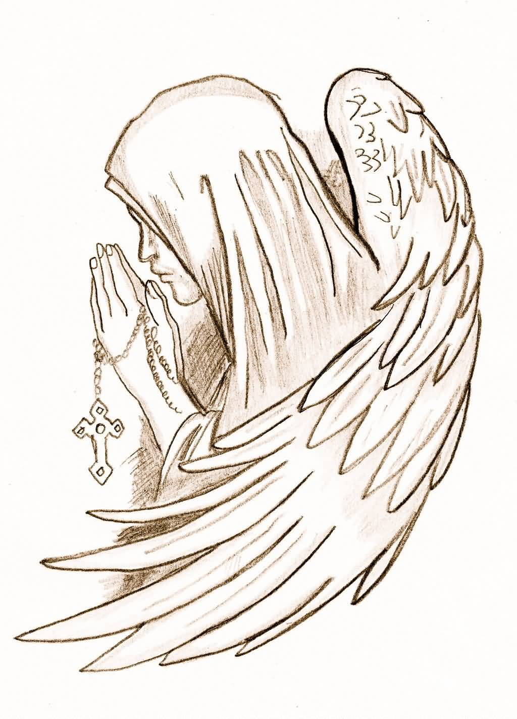 1024x1423 Close Hands Praying Angel Tattoo Drawing By Peaches