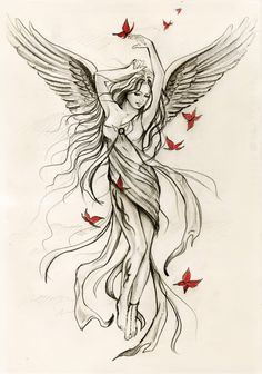 236x336 Protector Angels Drawings Guardian Angel Tattoo Design Aug 09