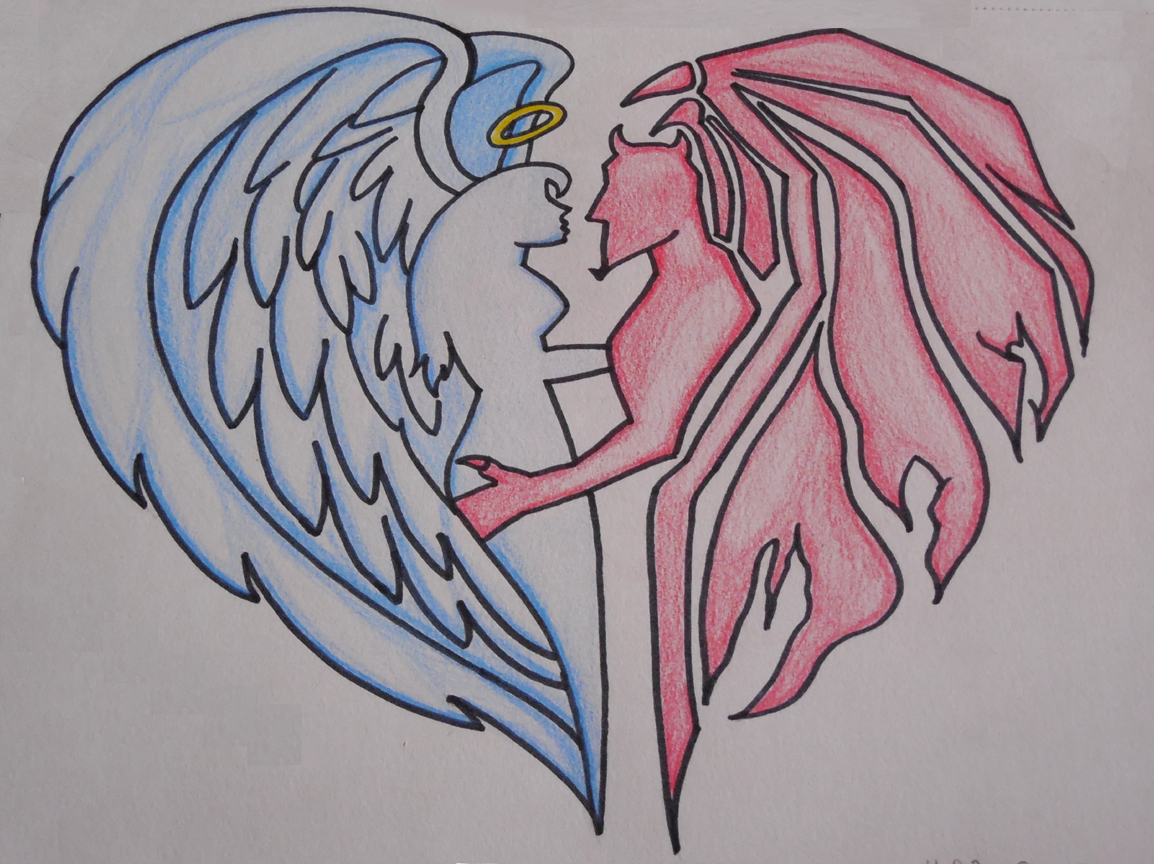 1154x864 Angel And Demons Sketches Lovers Angel And Demon Drawing