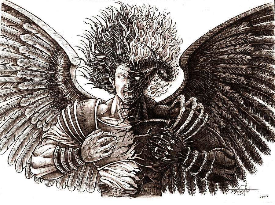 900x669 angel or demon drawing by rommel pascual