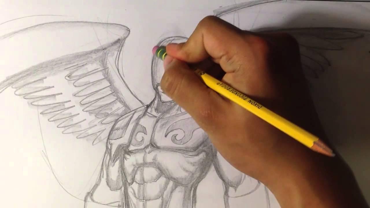 1280x720 Angel Warrior Sketch