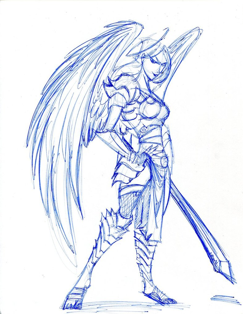 Angel Warrior Drawing at GetDrawings | Free download