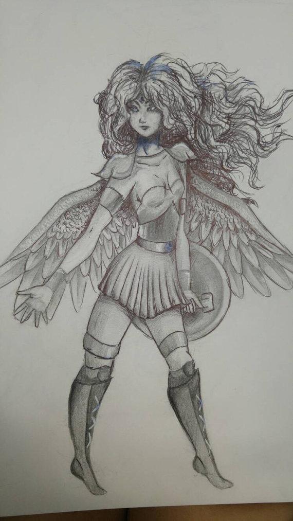 570x1013 Warrior Princess From Heaven. Angel Drawing. Fantasy Drawing.