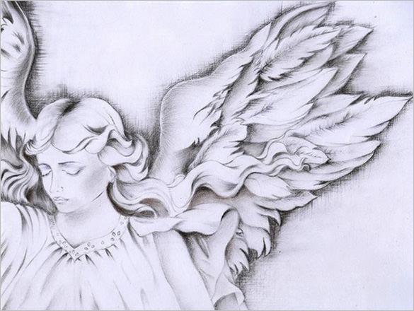 585x440 Angel Wings Drawings Free Amp Premium Templates