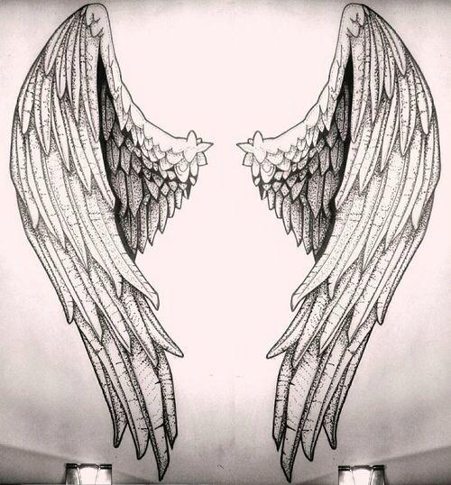 500x538 Angelic Wings Sketch Guardian Angel Jewelry Wings