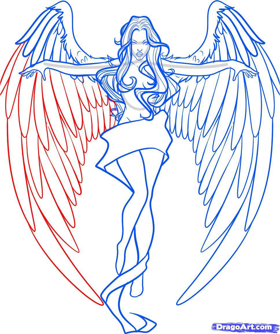 968x1154 Drawings Of Angel Wings Step By Step Drawn Angel Wing Drawing