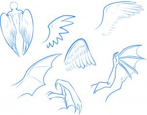 302x235 Today's Drawing Class 101 Drawing Wings How To Draw Anime Wings