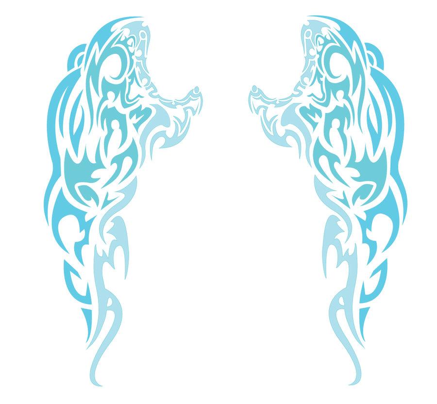 900x832 Blue Angel Wings Tribal By Chronophoenix