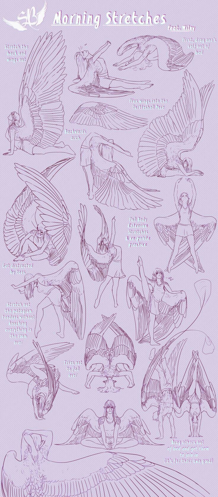 736x1677 Morning Stretches With Me Wings Drawing Morning