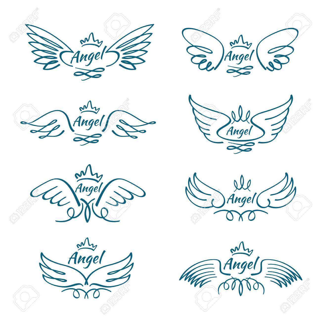 1299x1300 Elegant Angel Flying Wings. Hand Drawn Wing Tattoo Vector Design