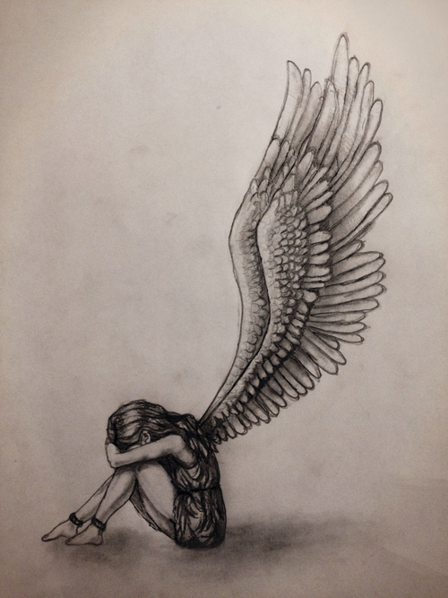 500x667 Gallery Girl With Wings Drawing,
