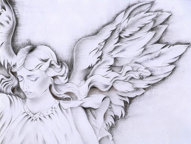 640x482 Angel Wings Drawing Handrawing Made With Charcoal. Pizza, Coke