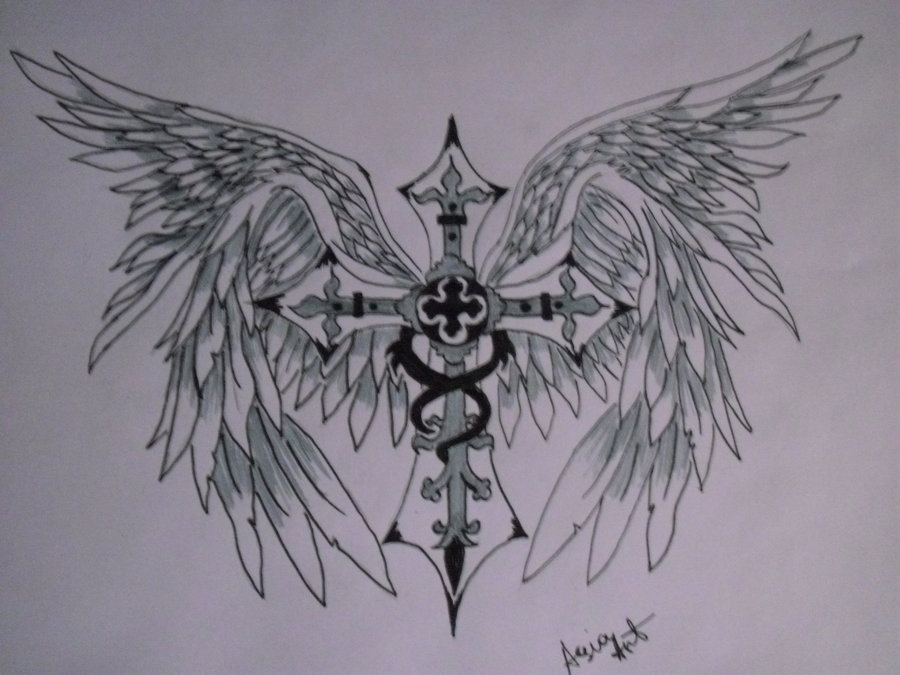 900x675 Cross With Angel Wings By Asiaart87