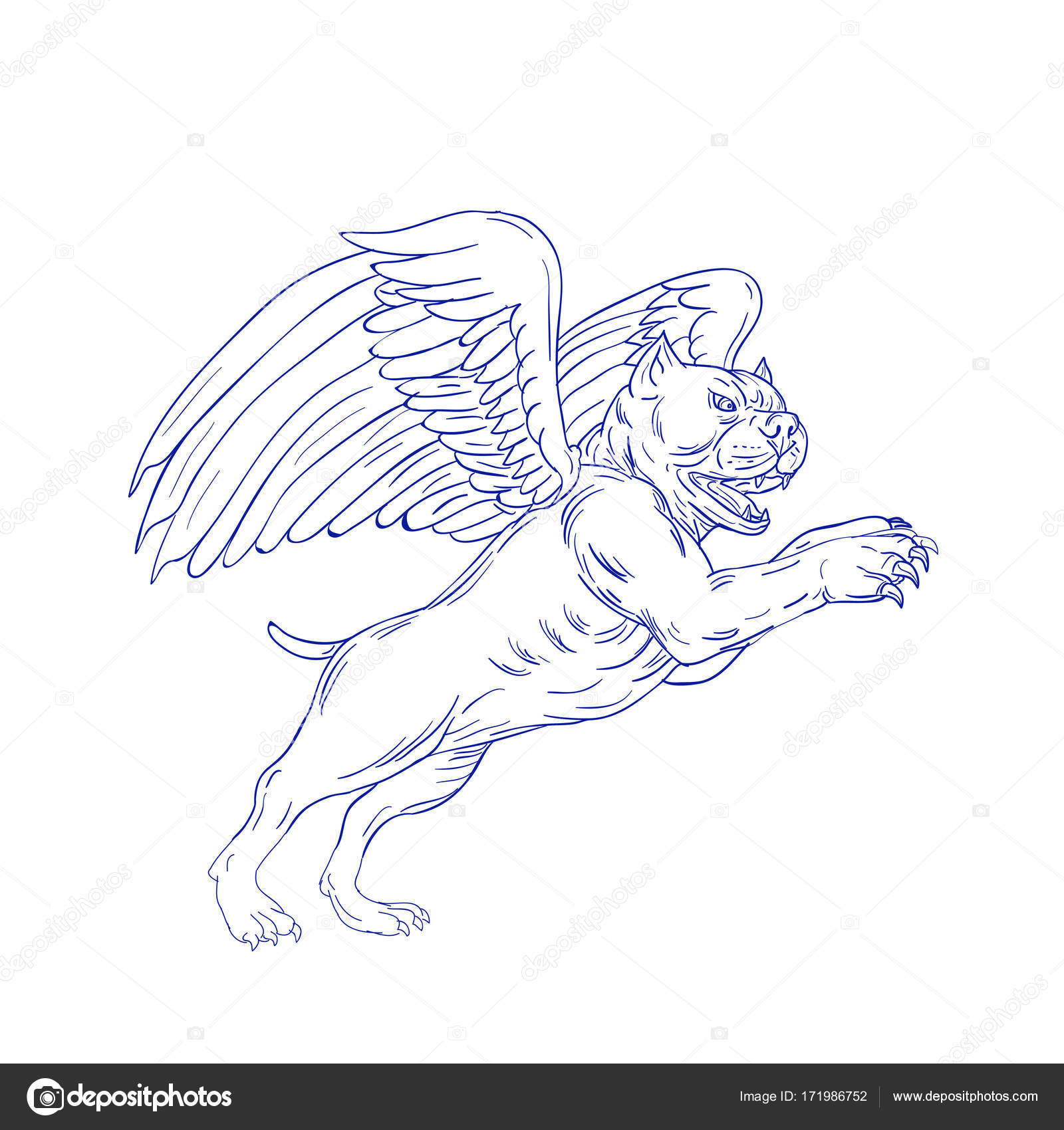 1600x1700 American Bully With Wings Drawing Stock Vector Patrimonio