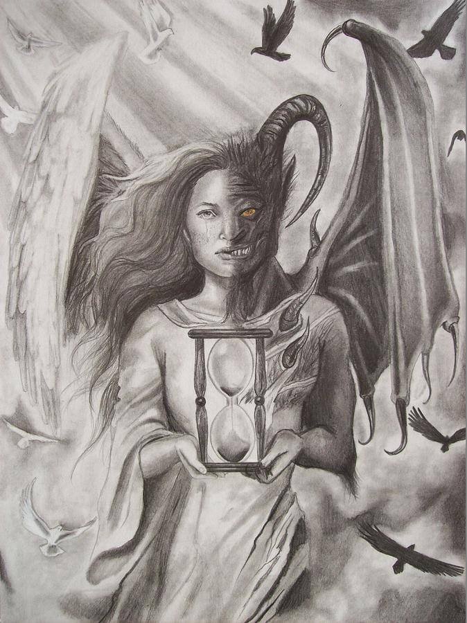 Pencil Drawings Of Angels And Demons