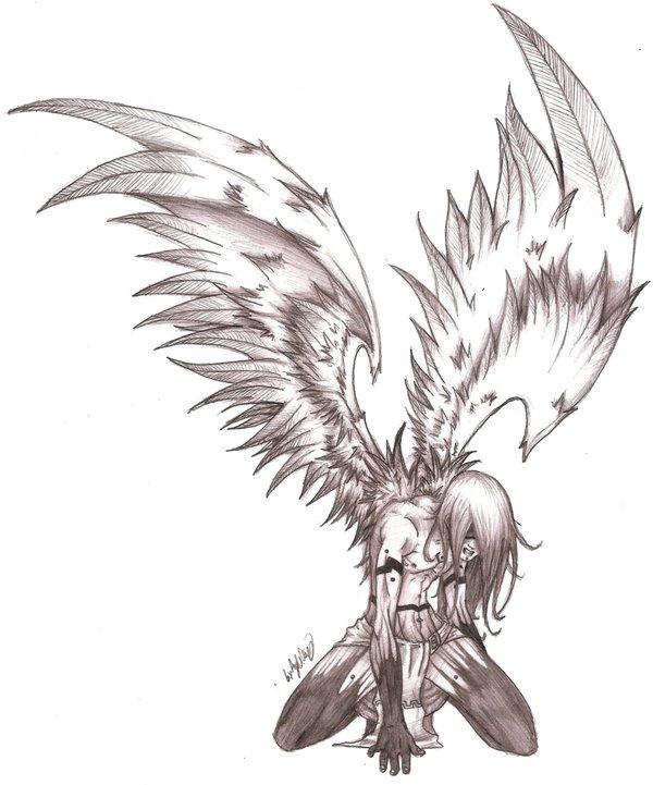 600x721 An Angels Pain Sketch by MaverickTears on DeviantArt
