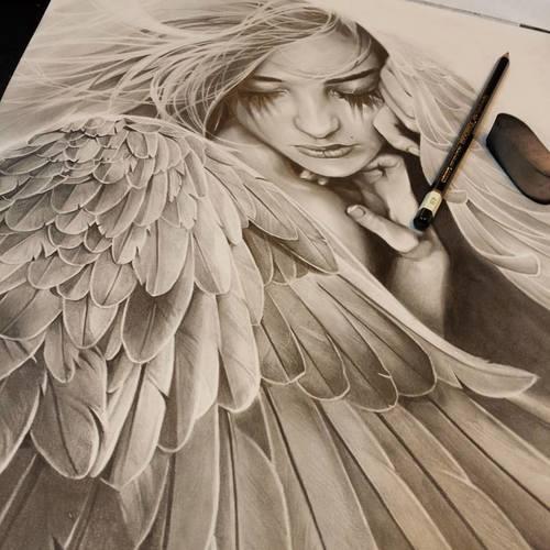 500x500 angel drawing