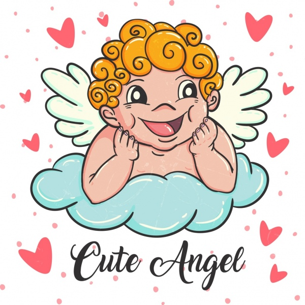 600x600 Angel Drawing Cute Kid Icon Colored Cartoon Design Free Vector