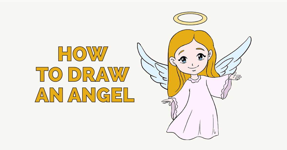 1200x628 How To Draw An Angel In A Few Easy Steps Easy Drawing Guides