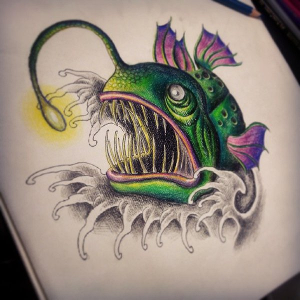 600x600 Awesome Angler Fish Tattoo Drawing By Uuu123447