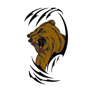310x310 Angry Brown Bear Drawing More Animals Decals, Decal Sticker